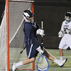 Boston: St. John's Prep goalie Blair Friedensohn makes a save from a  Duxbury shot.  photo by Mark Teiwes