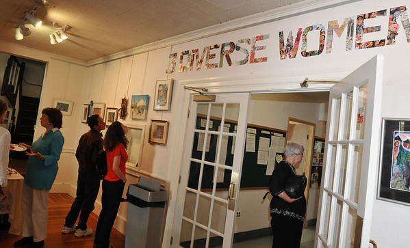 Marblehead: Three Diverse Women art show is on display through September 30 at the stetson Gallery of the Unitarian Universalist Church of Marblehead.    photo by Mark Teiwes / Salem News