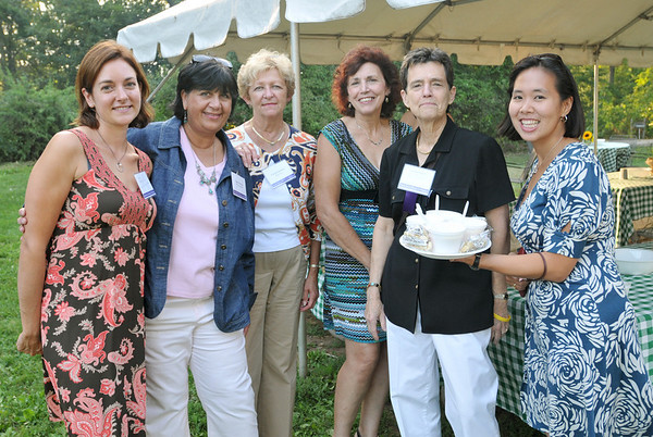 Hamilton:  The North Shore Women in Business clambake was held at Green Meadows Farm.  Pictured from left, Diana Rodgers of Green Meadows Farm, Nancy D'Anna, Vice President of NSWIB, Carol Fournier of RenCoor, Betty MacIver of Rutland, MA, Susan Gaskell of Elder Service Plan of the North Shore, and Leilani Germain of Ameriprise Financial.  photo by Mark Teiwes / Salem News