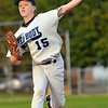 Peabody:  A fastball sails from the hand of Higgins Middle School team pitcher David Hoar.  photo by Mark Teiwes / Salem News