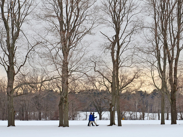 Ipswich: A couple snowshoes along the trails at Appleton Farms.  photo by Mark Teiwes / Salem News