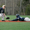 Danvers: Peabody High School captain Ramses Vittini, right, slides safe into second coved St. John's Prep short stop Justin Peluso.   photo by Mark Teiwes / Salem News