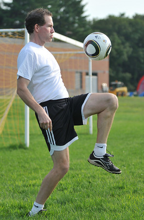 Topsfield:  Dave Mitchell is the varsity boys soccer coach at Masconomet Regional High School.  He  replaces Lenny Emmons, who was one of the winningest coaches in the country during his 39-year stint. photo by Mark Teiwes /  Salem News