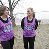 Saelm: Allison Gilgun of Salem, left, a teacher in Beverly, is running Boston for the first time after being diagnosed with Hodgkins Lymphoma in 2009. Her friend Shannon Botte is her running partner.   photo by Mark Teiwes / Salem News