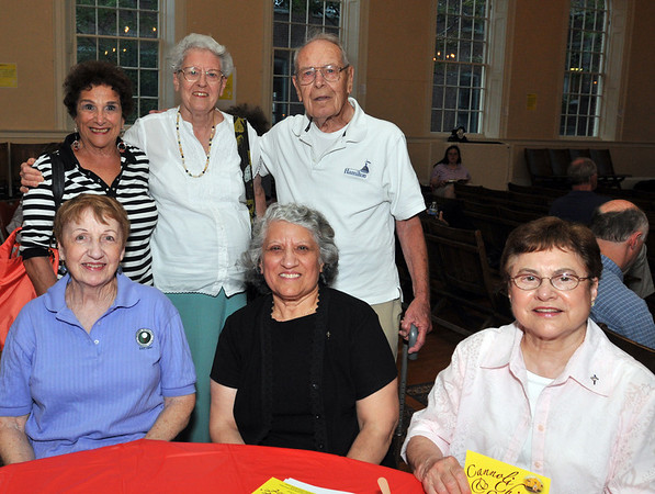Salem: Nancy Perroni, top left, Kay and Joe Piemonte are former parishioners of St. Mary's.  Pictured from bottom left, Lorraine Leonard, Carol Pineau and Rita Vachon.  A new vision on what St. Mary's might be like once the old church is restored was presented. photo by Mark Teiwes / Salem News