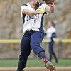 Beverly: Endicott College pitcher Jenna Bortolotti throws with conviction.  photo by Mark Teiwes / Salem News
