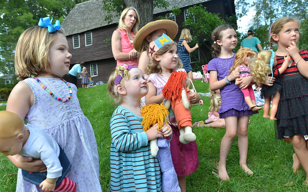 Topsfield: Girls participate in the annual Priscilla Capen Society Doll Tea event at the Gould Barn.  photo by Mark Teiwes /  Salem News