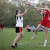 Ipswich:  Masco's Hannah Brazel, right makes a jumping shot to score past Ipswich defender Maddie Howe.  Mark Teiwes / Salem News