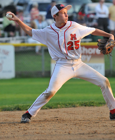 Salem: Marblehead's Matt Koopman makes an out in the finals of the Gallant Tournament versus Lynn. photo by Mark Teiwes /  Salem News