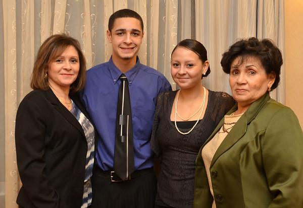 Danvers: 49th annual Salem News Student-Athlete Award banquet.  From left, Sayonara Reyes, Jordan Castillo, Jessica Cruz, and Rosa Rivera.  photo by Mark Teiwes / Salem News