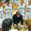 Hamilton: Hamilton-Wenham girls basketball coach Bill Burridge talks to his team prior to a game against Ipswich.   photo by Mark Teiwes  / Salem News
