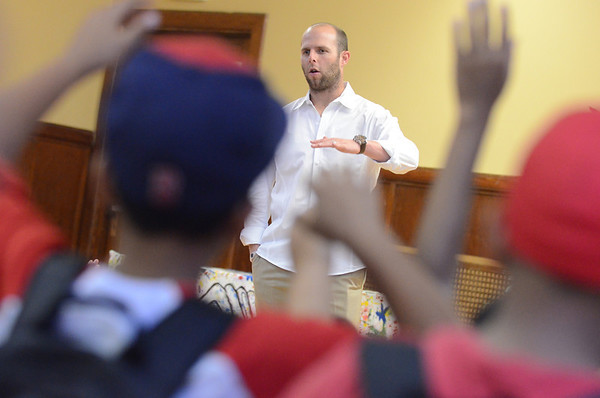 Salem:  Red Sox second baseman Dustin Pedroia answers questions  from chldren at Boys & Girls Club of Greater Salem.  photo by Mark Teiwes / Salem News