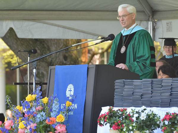 Wenham: Judson Carlberg speaks at Gordon College graduation for the last time as president.  He retires after 35 years of service.  photo by Mark Teiwes / Salem News