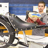 Middleton: Jacob Currie shows off his North Shore Tech science fair project where he converted a bike into a motorcycle using a honda air pressurizer engine.  photo by Mark Teiwes / Salem News