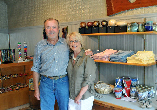 Salem: Jamie Burns of Marblehead, an award-winning menswear designer, recently opened the gift shop, The Pig Next Door, with his partner, Sharon Coletti of Marblehead.  photo by Mark Teiwes / Salem News