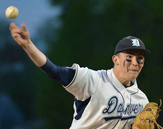 Danvers:  The Danvers High School pitcher Scott Hovey whips a fastball for a stike. photo by Mark Teiwes / Salem News