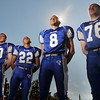 The Danvers High School Football captains are Scott Hovey, left, Nick Valles, Paul Nicolo, and Mike Connors.  photo by Mark Teiwes / Salem News