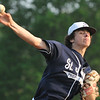 Danvers: St. John's Prep starting pitcher Rob DiFranco throws for a strikeout.  photo by Mark Teiwes / Salem News