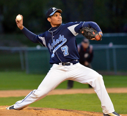 Danvers:  Peabody High School pitcher Nick Allen makes a throw on full count.   photo by Mark Teiwes / Salem News