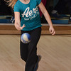 Peabody: First grader Cassadi O'Leary bowls at the Metro Bowl children's league.  photo by Mark Teiwes  / Salem News