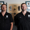 Salem:  John Whitmarsh, left, and his brother Matthew celebrate the 100th anniversary of their family's business, the Hayden Safe and Lock Co.     photo by Mark Teiwes / Salem News
