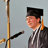 Danvers: Senior class of 2010 speaker Joseph Thibodeau addresses the crowd remembering the many experiences he has had over the years at St. John's Prep.  Photo by Mark Teiwes / Salem News