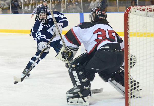 Salem: Peabody's Rob Houghton, left, takes a breakaway shot on Marblehead goalie Tony Cuzner.  Houghton scored the game's first goal in the first eleven seconds of the second period. photo by Mark Teiwes  / Salem News