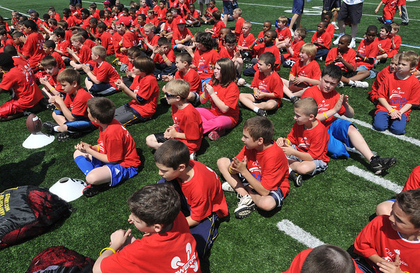 Peabody:  The football field at Bishop Fenwick High School was packed for the West Welker Football Camp.  photo by Mark Teiwes / Salem News