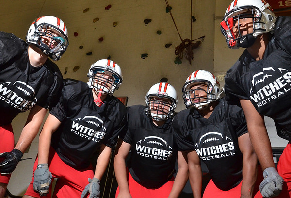Salem: Salem's offensive line from left, Tommy Shute, captain, Alex Veloukas, Cameron Harvey, Wilson Jimez, capatin, and Jared Louf-Woods.  photo by Mark Teiwes  / Salem News