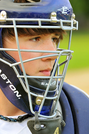 Peabody:  Catcher Daniel Kohn guards home plate for the Higgins Middle School team. photo by Mark Teiwes / Salem News