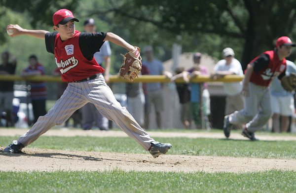Danvers: Amesbury pitcher Chris Francoeur throws for a strike out in a District 15 Little League all-star game against Hamilton-Wenham.   photo by Mark Teiwes / Salem News