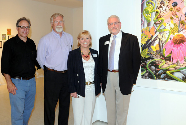 "Beverly: Joe Zelloe of Zelloe, left, Phil Brokerick, Stephen Immerman, President of Montserrat, and Joe Broderick, Dean of Montserrat attended the reception for the colleges exhibition, ""The Morning Exciting.""  photo by Mark Teiwes / Salem News"