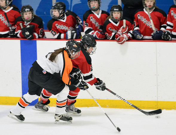 Stoneham: Marblehead's Rachel McKay, right, skates up ice followed by Beverly's Allyson Spencer.  photo by Mark Teiwes  / Salem News