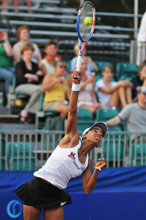 Danvers: Boston Lobsters tennis player Raquel Kops-Jones serves at the home opening match of the season.    photo by Mark Teiwes / Salem News
