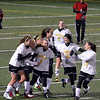 Peabody: Bishop Fenwick girls soccer team celebrate after  sophomore Becky Mercuro scored the games first goal after a scramble with 33 minutes to go.  photo by Mark Teiwes / Salem News