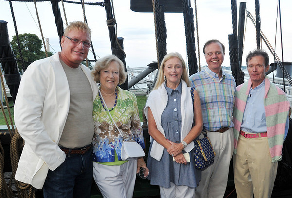 Salem: Bob Moulton of Danvers, left,  Claire Bailey of Salem, Charlene and Tom Gibney of Marblehead, and Jack King of Danvers attended the Historic Salem Inc. fundraiser which included a tour of the Friendship, music and food.  photo by Mark Teiwes / Salem News