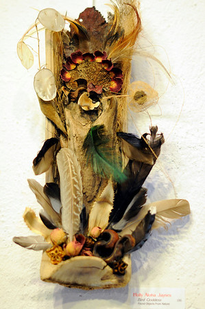 "Marblehead: Holly Aloha Jaynes piece entitled, ""Bird Goddess"" is made with found objects from nature.    photo by Mark Teiwes / Salem News"
