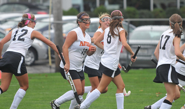 Beverly: Beverly's Natalie Shea (19) celebrates her goal with her teammates.  photo by Mark Teiwes / Salem News