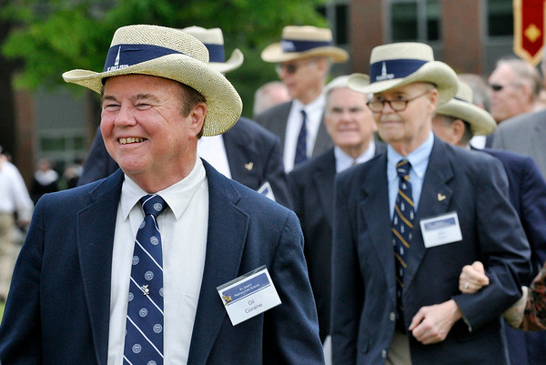 Danvers: Gil Coraine participates in the opening procession of the 100th commencement ceremony at John's Prep, with fellow classmates from the class of 1960 celebrating their 50th reunion.  Photo by Mark Teiwes / Salem News