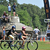 Hamilton: Two racers bike through Patton Park during the TriROK Foundation's kids's triathlon.   photo by Mark Teiwes / Salem News