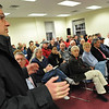 Salem: Arthur Theophilopoulos, owner of Young World Academy a  voices his strong opposition to the methadone clinic.  The preschool and day care is located close to the proposed site.  photo by Mark Teiwes / Salem News