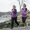 Saelm: Allison Gilgun of Salem, right, a teacher in Beverly, is running Boston for the first time after being diagnosed with Hodgkins Lymphoma in 2009. Her friend Shannon Botte, left, is her running partner.   photo by Mark Teiwes / Salem News