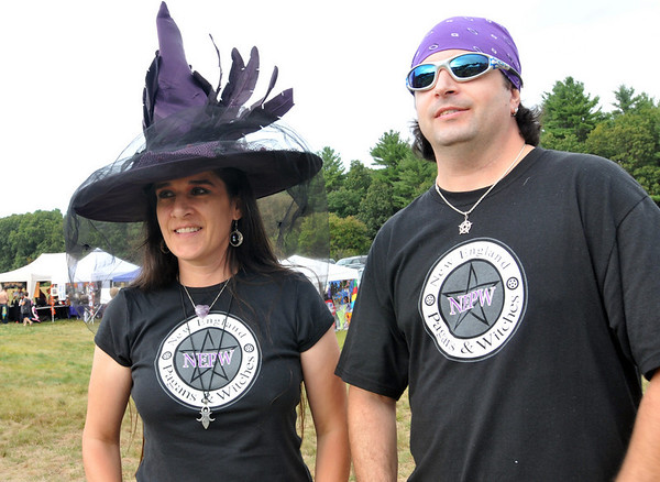 Topsfield: Darla and Steve Majick are the owners of New England Pagans and Witches.  They will be having a marriage ceremony on 10/10/10.   Eastern Mass Pagan Pride Day was a chance to build community between pagans.  photo by Mark Teiwes / Salem News