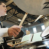 Salem: 8th grade drummer Patrick Cornacchio keeps the beat going during the Collins Middle School's final concert. photo by Mark Teiwes / Salem News