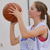 Danvers:  Danvers player Meghan McKenna takes aim for a free throw at a North Shore Summer Basketball League girls playoff game.  photo by Mark Teiwes /  Salem News