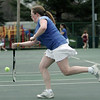 Danvers: Danvers first singles player Becca Sands makes a return during a match against Gloucester's Leila Gaston . photo by Mark Teiwes