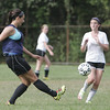Salem: Hamilton-Wenham center midfielder Sophia Becker makes a pass upfield during a scrimmage against Salem.  photo by Mark Teiwes /  Salem News