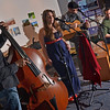 Salem:  Clay Ventre and the Bond Girls perform for the Salem Film Fest opening reception.  Pictured from left, Jeff Lafontant, Hannah Cranton, Clay Ventre, and Chris Barber.   photo by Mark Teiwes / Salem News