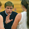 Hamilton: Hamilton-Wenham girls basketball coach Bill Burridge talks to his team during a time-out.   photo by Mark Teiwes  / Salem News