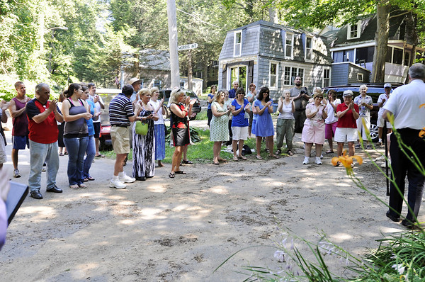 Hamilton: Members of the Asbury Grove community gathered to celebrate Jay Miller for her 58 years of didicated volunteer service to the Asbury Grove community naming the recreation area the Jay Miller Recreation Area.  photo by Mark Teiwes / Salem News